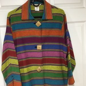 Norm Thompson Colorful Striped Cotton Jacket